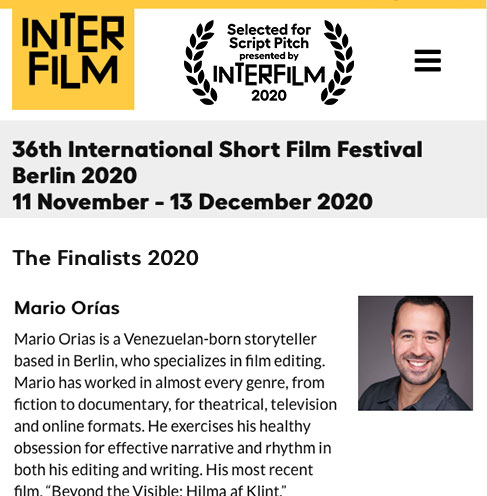 Interfilm finalists 2020 Mario Orias